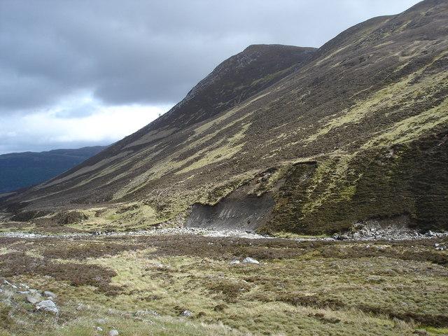 Erosion on bank of Allt Fionndrigh