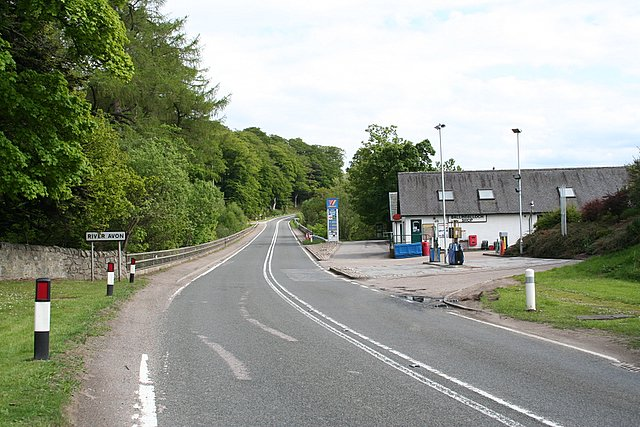 Post Office and petrol station at Ballindalloch.