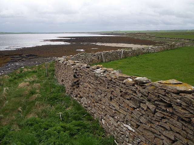 Wall above the shoreline