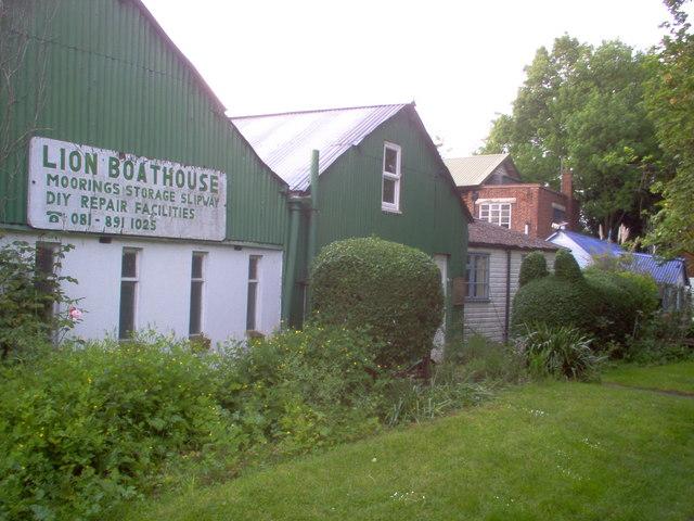 Boat repair buildings on Eel Pie Island