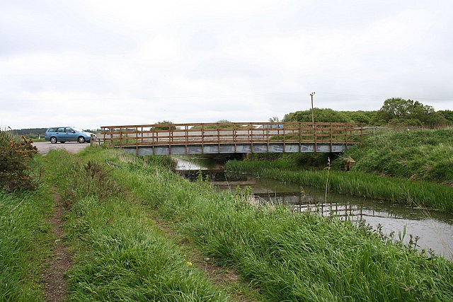 A Road and cycle track cross Spynie canal  near Lossiemouth