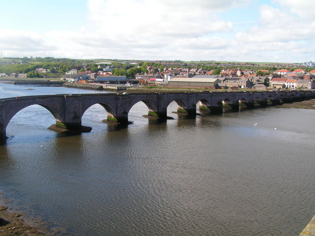 Old Low level bridge across the River Tweed