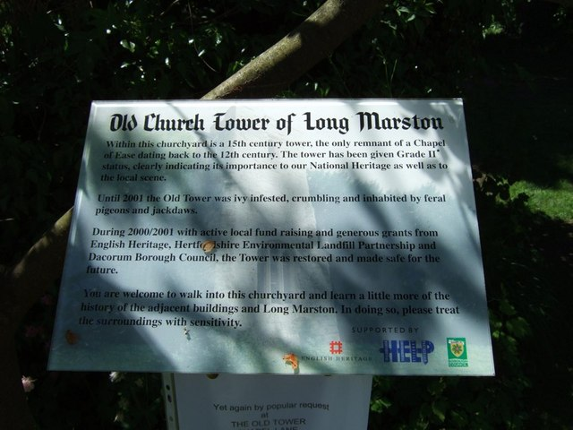 Signboard for the Old Church Tower, Long Marston