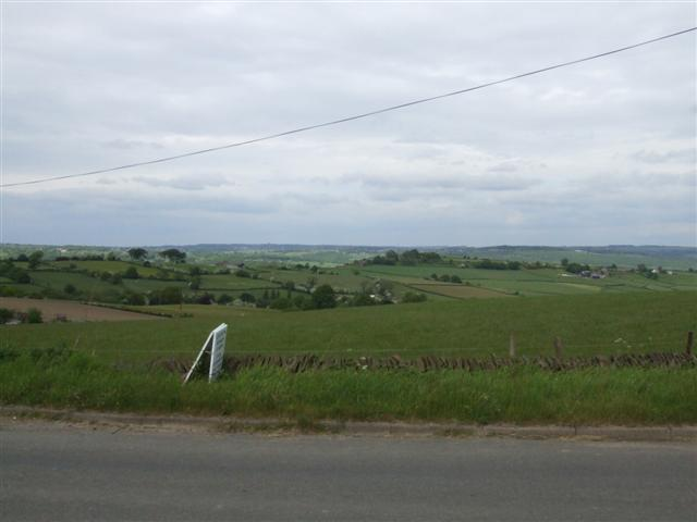 View over open farmland from the B6050 near Moorhall
