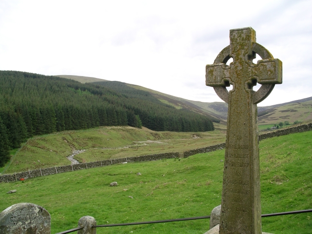 "Celtic cross and reputed site of ""St Gordian's Kirk"""