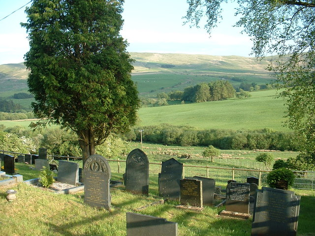 Graveyard, looking over the Medrad valley