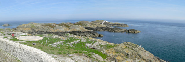 Looking towards Ynys Berchen from the Skerries Lighthouse.