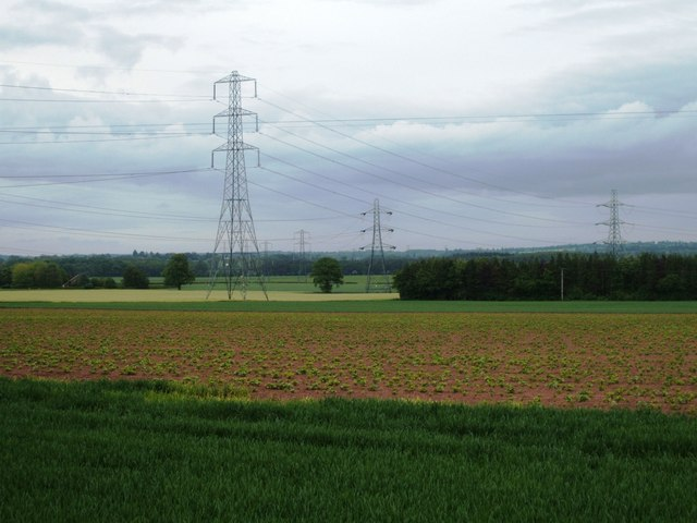 Powerlines from Buildwas between Badger and Beckbury