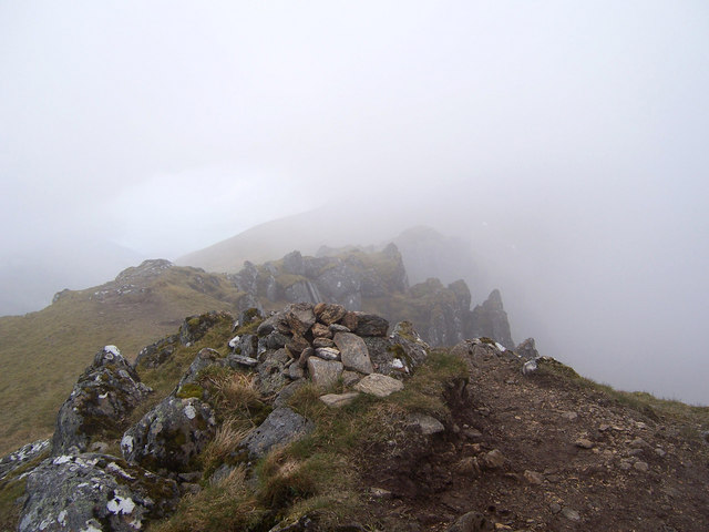The summit cairn on the South-East Top of Meall Buidhe.