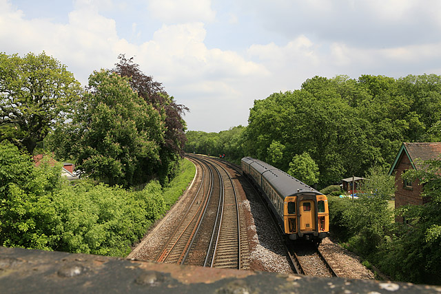 Railway line to Brockenhurst Station from bridge on B3055