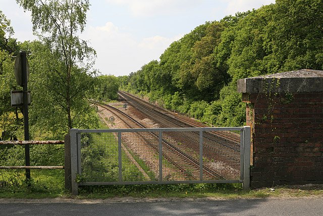 Railway lines south of bridge on B3055, Brockenhurst