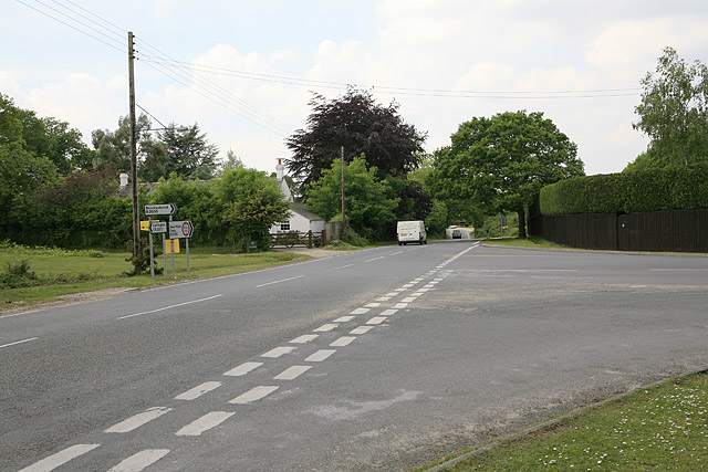 B3055 road junction south of Brockenhurst