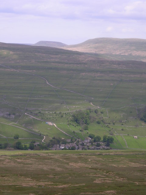 Starbotton village seen from Old Cote Moor Top