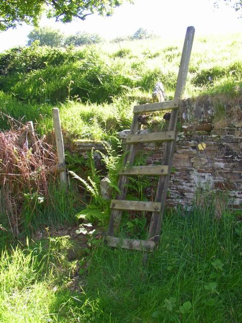 Ladder in place of ruined stile, Barkisland