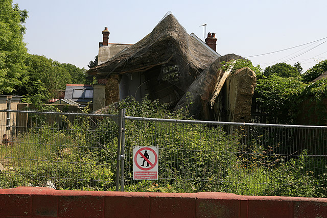 Collapsed thatched cottage in South Weirs, Brockenhurst