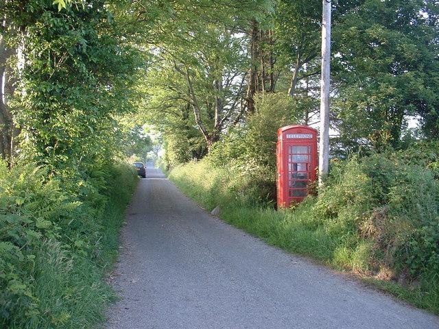 Red phone box near Efail Cenin