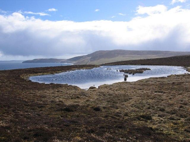 Loch of Moan on Rousay in the  Wasbister region looking towards Faraclett Head