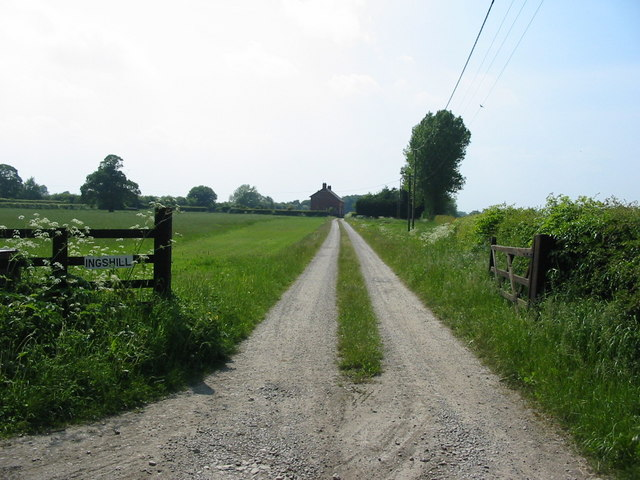 Farm road and agricultural land near Ings Hill