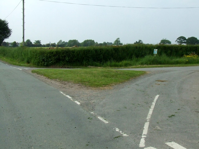 Grass Triangle in middle of road junction