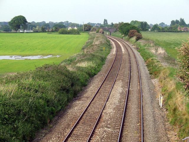 Railway line near Smeaton Wood Farm