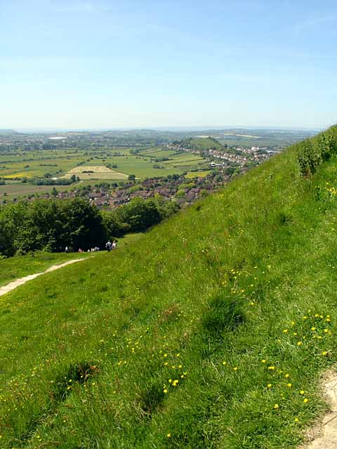 Looking down towards Glastonbury