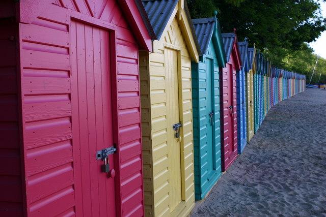 Beach huts at Llanbedrog beach