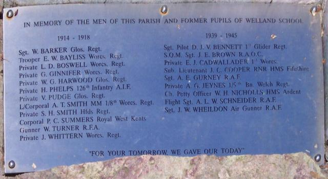 Welland War Memorial Roll of Honour