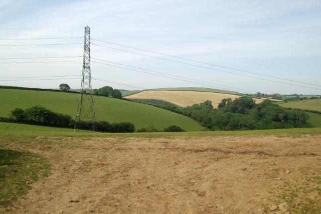 Field and pylon near Tilland Road Farm