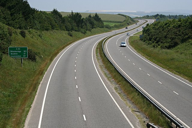 The A30 near Mitchell