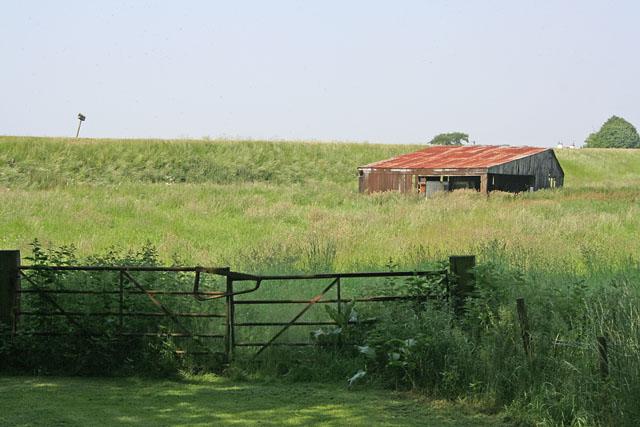 Corrugated iron barn on Marsh Road
