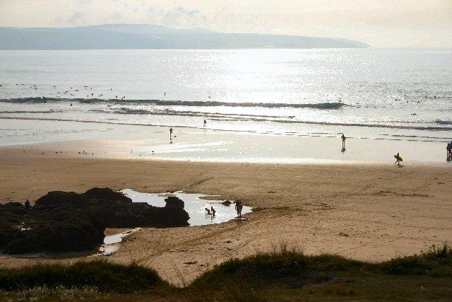 Surfers on Godrevy Sands