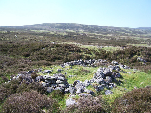 The remains of an old sheiling on the SE slopes of Creag nan Gabhar