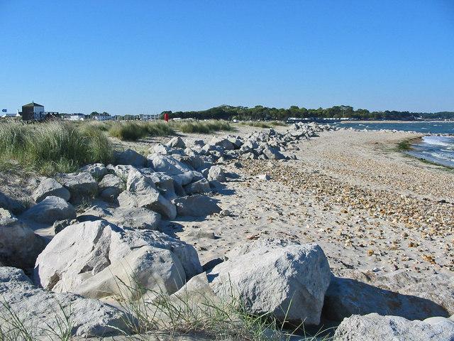 Beach dune defences Mudeford spit Dorset