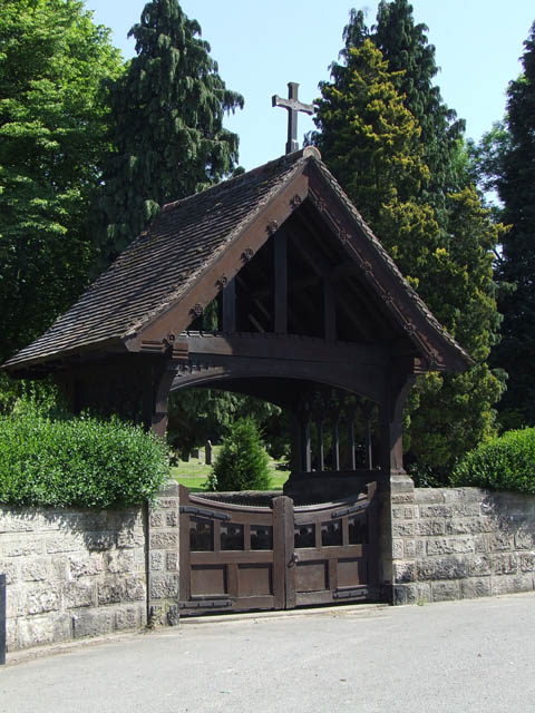 The lych gate at Ashbourne cemetery