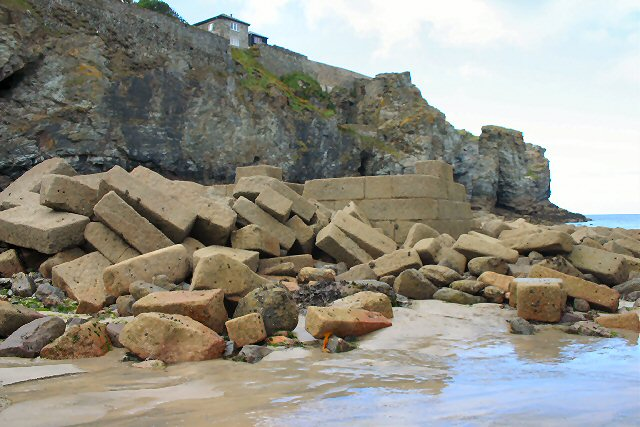 Remains of former harbour at Trevaunance Cove