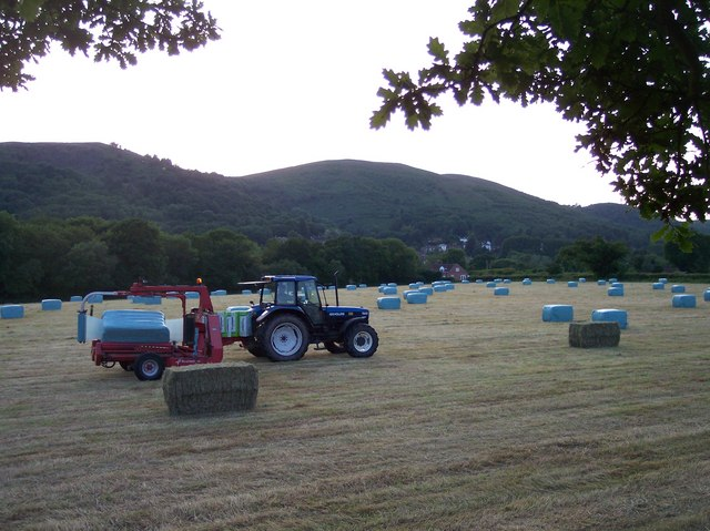 Wrapping Hay Bales near Mayall's Coppice