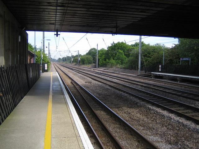 East Coast Main Line railway at Welham Green