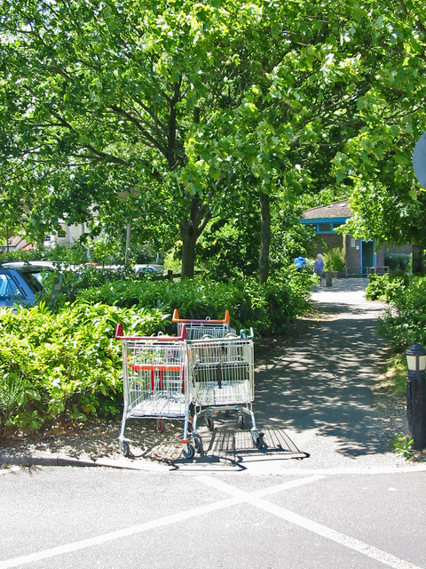 Supermarket  trolleys obstructing footpath Ringwood Hampshire