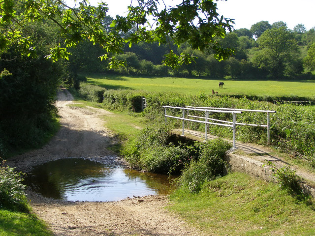 Ford and footbridge across Huckles Brook, Holland Bottom, New Forest