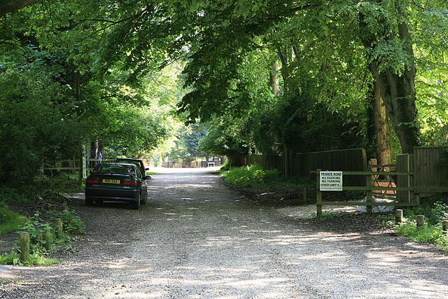 Western end of Forest Park Road seen from Rhinefield Road, Brockenhurst