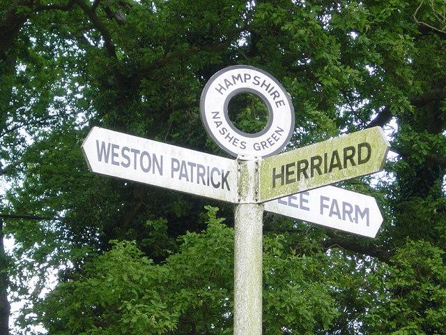 Nashes Green signpost