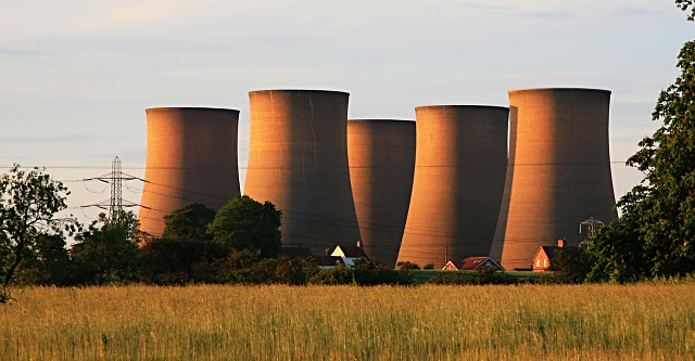 Cooling towers dwarf the houses at High Marnham
