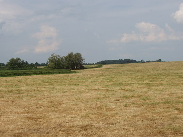 Mown hay field near Long Crendon