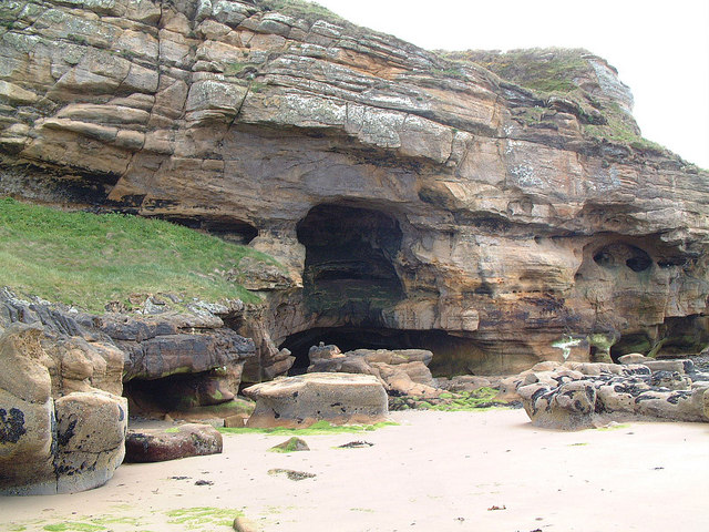 Sandstone Cliff and Caves at Clashach Cove