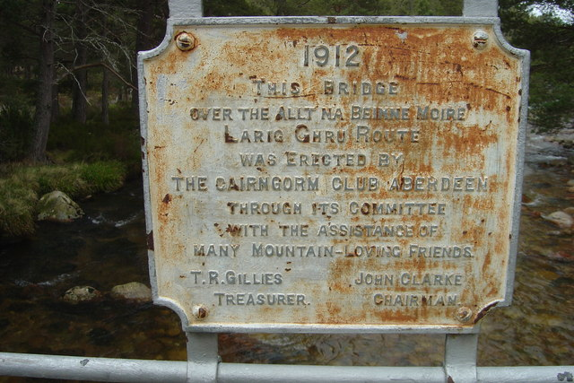 Plaque on Cairngorm Club Footbridge