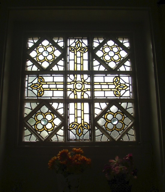 Stained glass window in Westering House, Moorbottom, Cleckheaton