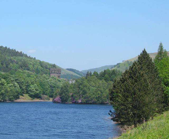 Island in Derwent Reservoir, with Howden Dam behind