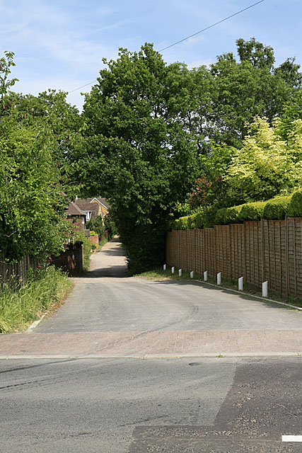 Vears Lane seen from Church Lane, Colden Common