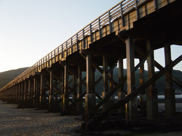 Barmouth Bridge at low tide