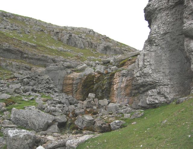 Dry waterfall at Eglwyseg Crags